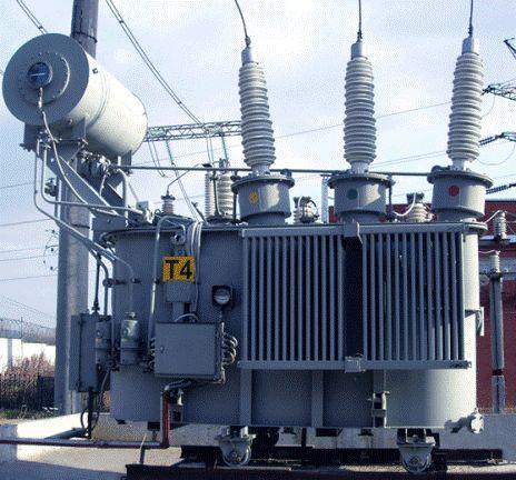 Силовой трансформатор на подстанции