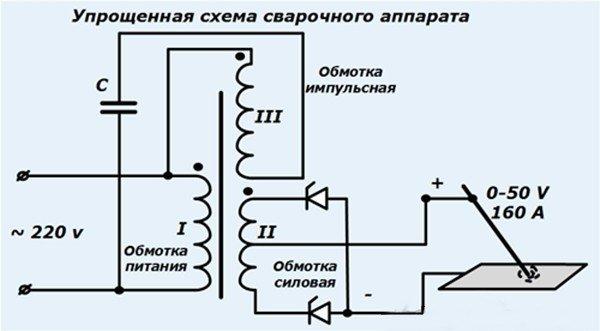 Упрощенная схема сварочного аппарата