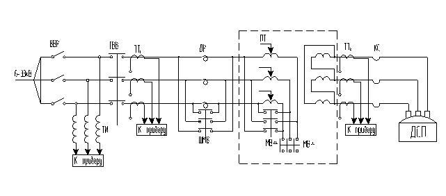 Электрическая схема питания дуговой печи