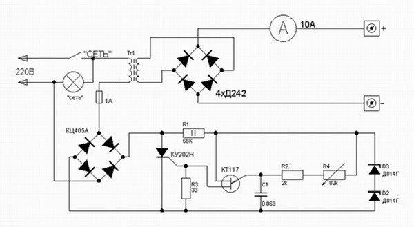 Зарядное устройство с регулировкой по первичной обмотке трансформатора схема