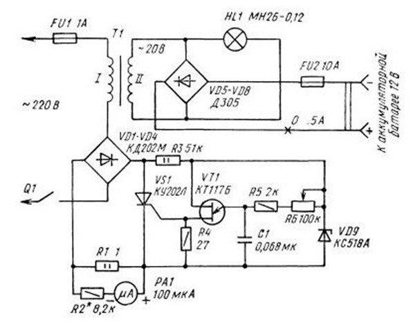 Зарядное устройство с регулировкой по первичной обмотке трансформатора подробная схема