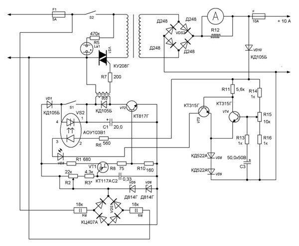 Зарядное устройство с регулировкой по первичной обмотке понижающего трансформатора Т1