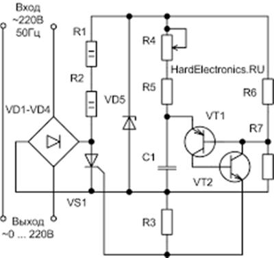 схема тиристорного регулятора