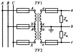 Схемы соединений трансформаторов напряжения в разомкнутый треугольник