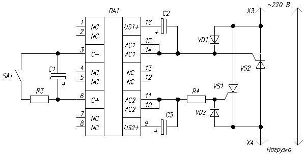 Схема устройства плавного пуска сетевого трансформатора