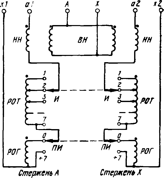 Схема соединения обмоток тягового трансформатора