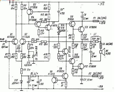 Термостабильный усилитель с малыми динамическими искажениями (26 Ватт) схема