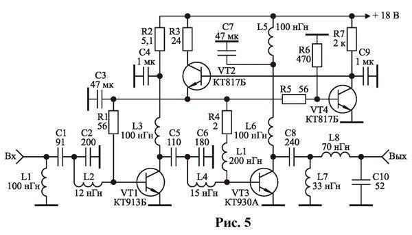 Схема усилителей мощности для согласующих трансформаторов