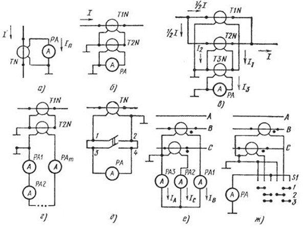 Подключение амперметров через трансформаторы тока