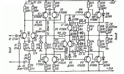 УНЧ на транзисторах с малыми динамическими искажениями (20 Ватт) схема