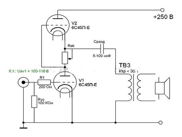 Схема для однотактного трансформатора