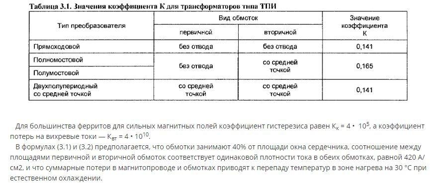 значение коэффициента К для трансформатора ТПИ