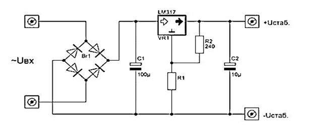 типовая схема устройства на микросхеме LM317