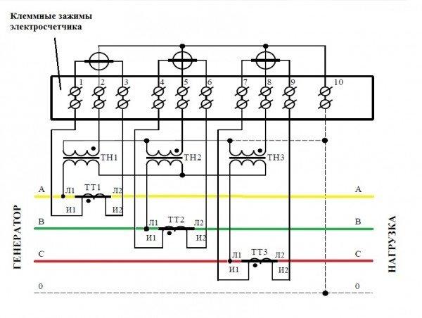 Схема подключения трансформатора тока