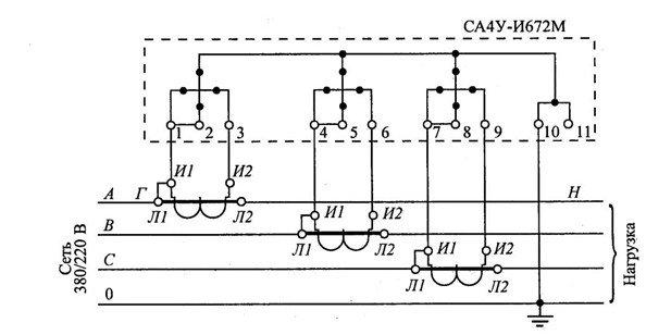 Схема присоединения СА4У-И672М
