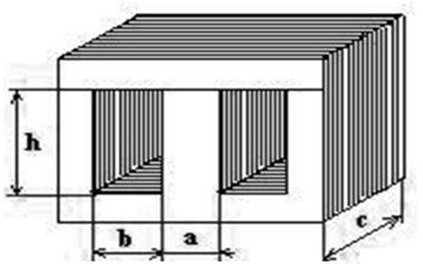 Магнитопровод Ш-образного типа с размерами