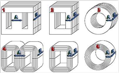 Типы сердечников и параметры расчета сечения магнитопровода
